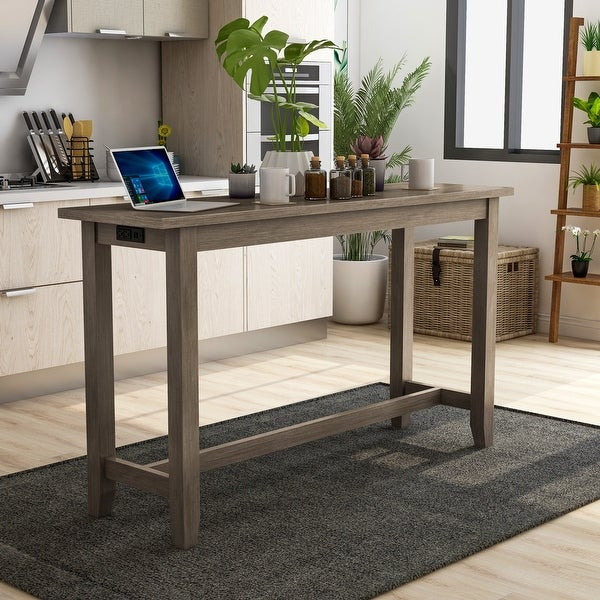 Furniture of America Ibella 64-inch Counter Table with USB Port. Opens flyout.