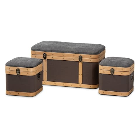 Clarence Modern and Contemporary Transitional Fabric Upholstered Oak Brown Finished 3-Piece Storage Ottoman Trunk Set