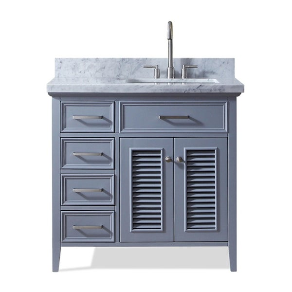 "Ariel D037S-R-VO Kensington 36"" Freestanding Vanity Set with Wood Cabinet, Marble Top and Single Undermount Sink"