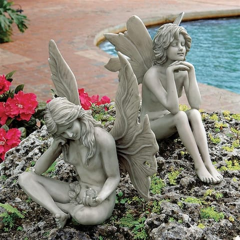 Design Toscano The Secret Garden Fairy Statues: Set of Gazing Fairy & Pondering