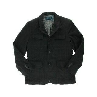 Perry Ellis Mens Wool Blend Plaid Coat