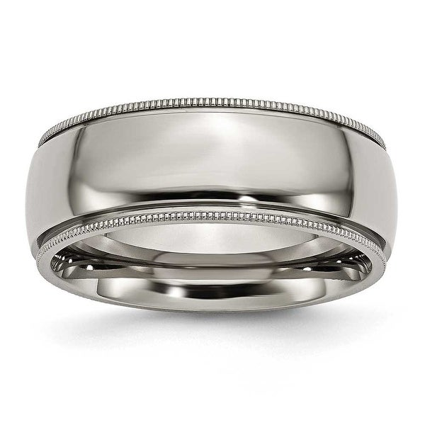 Chisel Grooved and Beaded Polished Titanium Ring (8.0 mm)