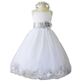Flower Girl Dresses Rose Petal Wallao White (Baby - 14) Silver