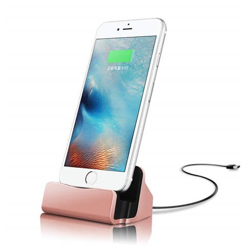 NewAge Desktop Charging Stand Dock Station Cradle Charger Compatible with iPhone - Rose Gold