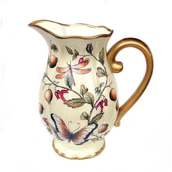 Cream Floral Ceramic Decorative Vase or Pitcher. Opens flyout.