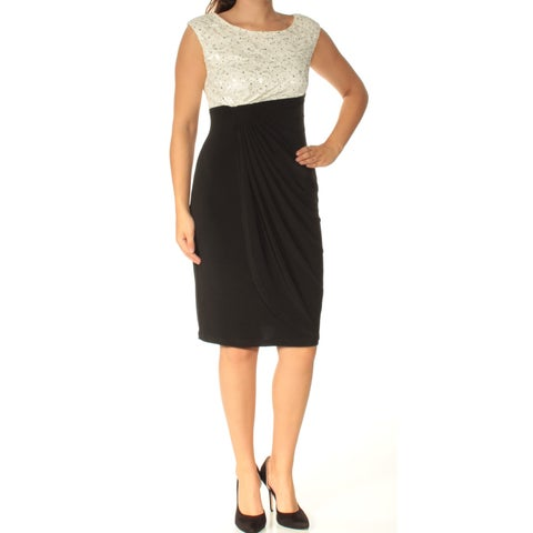 CONNECTED Womens Black Sequined Color Block Cap Sleeve Boat Neck Knee Length Sheath Dress Size: 6