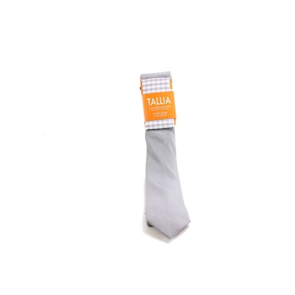 Tallia NEW Silver Solid Neck Tie Pocket Square Set Silk Men's Accessory