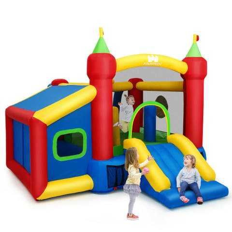 Gymax Inflatable Bounce House Kids Slide Jumping Castle with Ball Pit - See Details