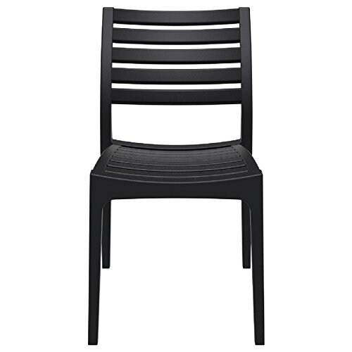 Ares Resin Outdoor Dining Chair (2 Chairs) - Black