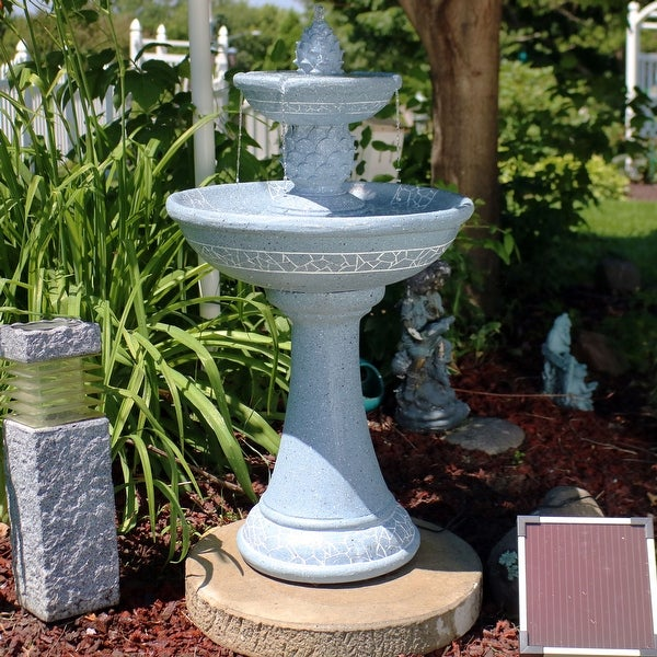 Sunnydaze Dual Pineapple Tiered Solar-on-Demand Fountain with Lights - 34-Inch