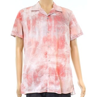 Calvin Klein Pink Mens Size Large L Canvas Paint Button Down Shirt
