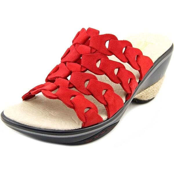 Jambu Romance Women Open Toe Leather Red Slides Sandal