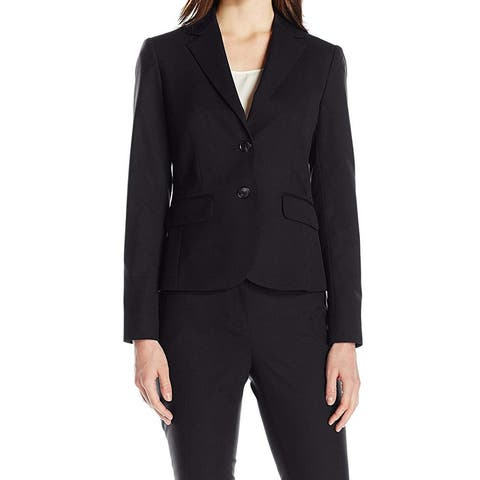 Jones York Jet Black Womens Size 16 Two-Button Notched Blazer