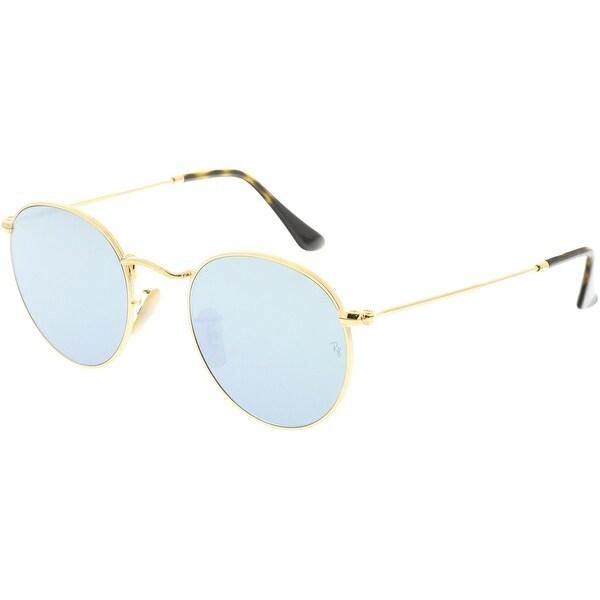 06e3d64cddd08 Shop Ray-Ban Mirrored Round Flat RB3447N-001 30-50 Gold Sunglasses ...
