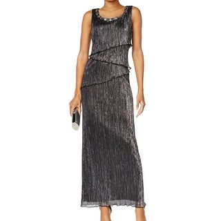 Connected Apparel NEW Black Women's Size 12 Ribbed Tiered Maxi Dress