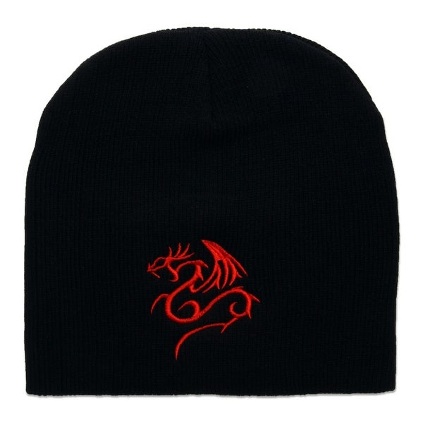 482743a5ada Shop Red Dragon Cuffless Short Beanie - Black - Free Shipping On Orders  Over  45 - Overstock - 17800568