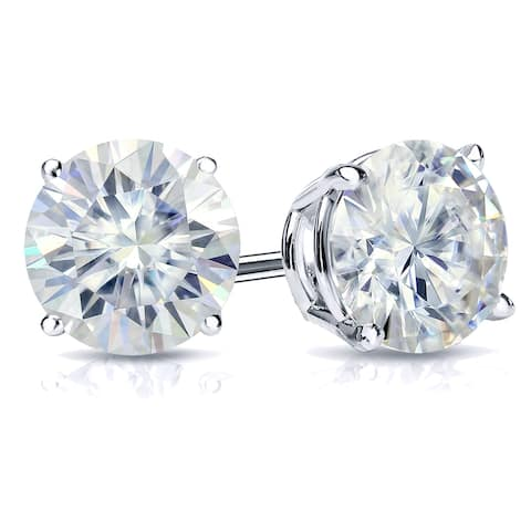 Auriya 2ctw Round Moissanite Stud Earrings 14k Gold 4-Prong Basket - 6.5 mm