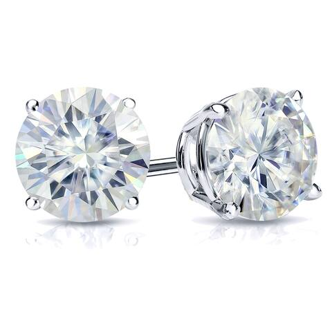 Auriya 3ctw Round Moissanite Stud Earrings 14k Gold 4-Prong Basket - 7.4 mm