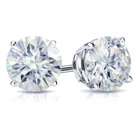 Auriya 1 carat TW Round Moissanite Stud Earrings 18k Gold 4-Prong Basket - 5 mm, Screw-Backs