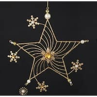 "9"" Gold Glittered Star with Faux Gem and Pearl Snowflake Flowers Christmas Ornament"