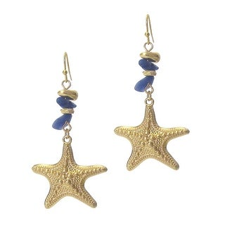 Semi Precious Stone and Fish Hook Starfish Earrings