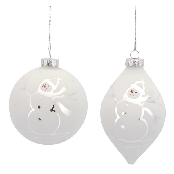 Pack of 6 Wintry Snowman Etched Glass Ball and Teardrop Christmas Ornaments - WHITE
