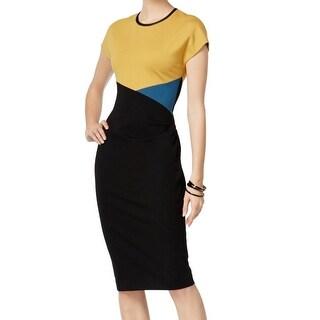 Anne Klein NEW Yellow Black Women's Size 2 Sheath Colorblocked Dress