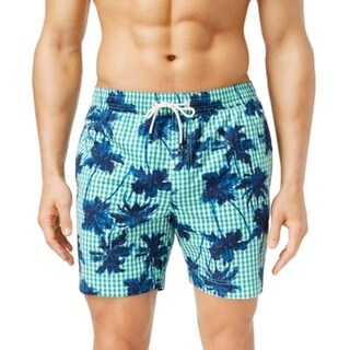 Tommy Hilfiger NEW Green Mens Size Large L Plaid Palm Trunks Swimwear
