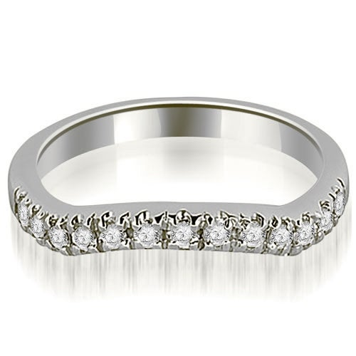 0.35 cttw. 14K White Gold Curved Round Cut Wedding Band