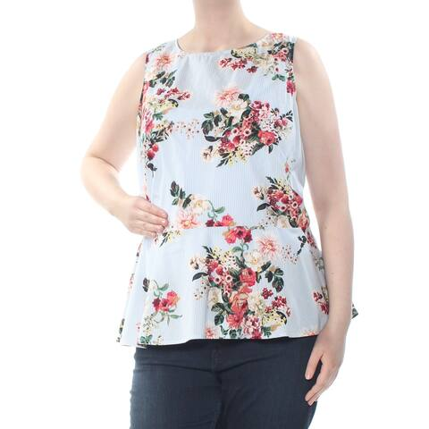 TOMMY HILFIGER Womens Light Blue Darted Peplum Pinstripe Floral Wear To Work Top Plus Size: 0X