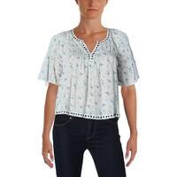 Denim & Supply Ralph Lauren Womens Casual Top Floral Print Pleated