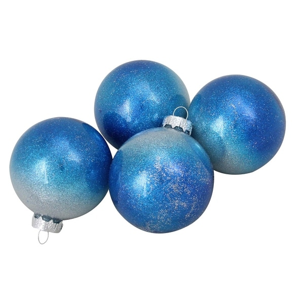 """4-Piece Set of Blue and Silver Glittered Ombre Glass Ball Christmas Ornaments 3.25"""" (65mm)"""