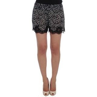 Dolce & Gabbana Black White Floral Lace Silk Sleepwear Shorts