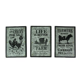 Set of 3 Farmhouse Galvanized Metal On Wood Wall Hangings