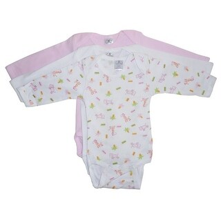 Bambini Baby Girls Multi Color Variety Print Long Sleeve 3-Pack Bodysuits