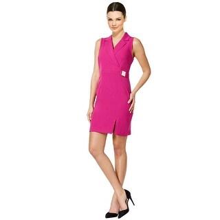 Sandra Darren Petite Faux Wrap Sleeveless Dress - 8P