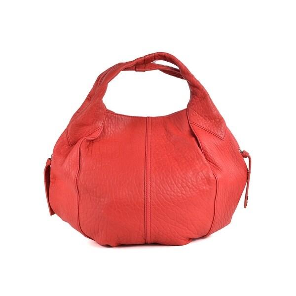 Shop Givenchy Red Aged Leather Rounded Hobo Shoulder Bag
