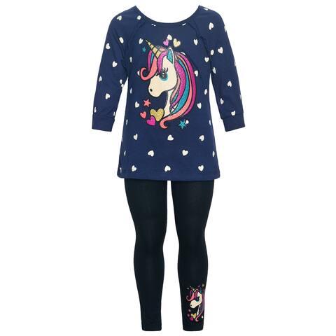 Little Girls Navy Unicorn Heart Print Ruffle Trim 2 Pc Legging Set