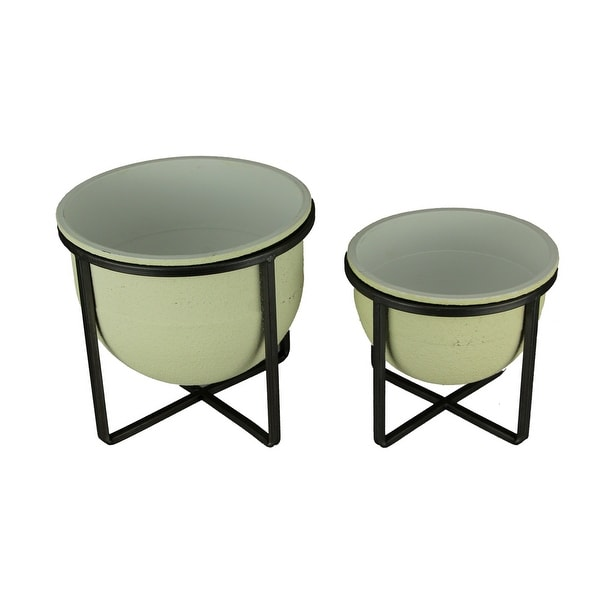 White Stone Finish Metal Tub Planter in Stand Set of 2 - 8 X 8.5 X 8.5 inches