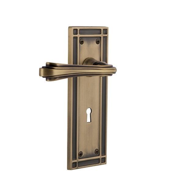 """Nostalgic Warehouse MISFLR_PRV_238_KH Fleur Privacy Door Lever Set with Mission Rose and Decorative Keyhole for 2-3/8"""" Backset"""