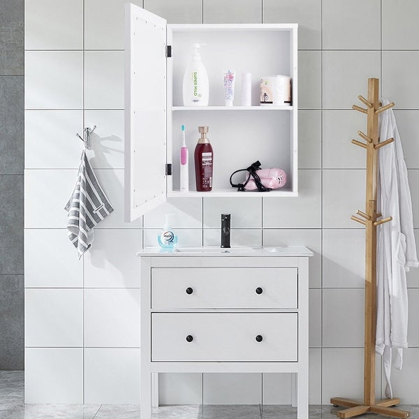 Gymax Bathroom Mirror Cabinet Wall Mounted Kitchen Medicine Storage Adjustable Shelf