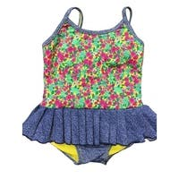 Baby Girls Green Pink Spring Floral Print Ruffle Detail One Piece Swimsuit