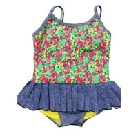 Baby Girls Green Pink Spring Floral Print Ruffle Detail One Piece Swimsuit - 24 months