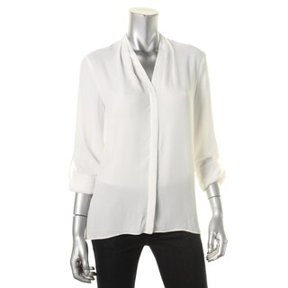 T Tahari Womens Taylor Button-Down Top Georgette Long Sleeves
