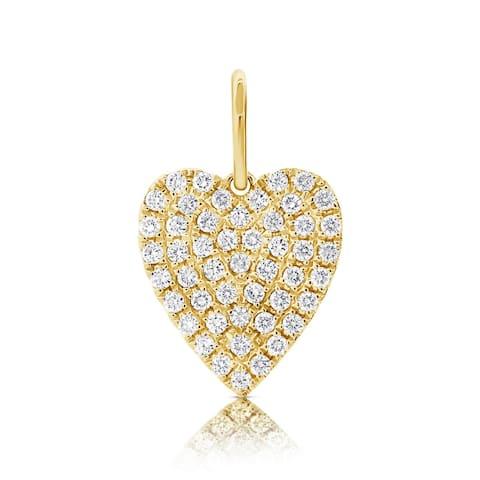 Diamond Heart Charm 14K Yellow Gold