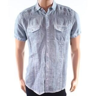 INC NEW Blue Mens Size Small S Vintage Linen Blend Button Down Shirt