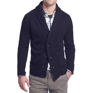 7 Diamonds NEW Blue Mens Small S Shawl Collar Zip Cardigan Sweater