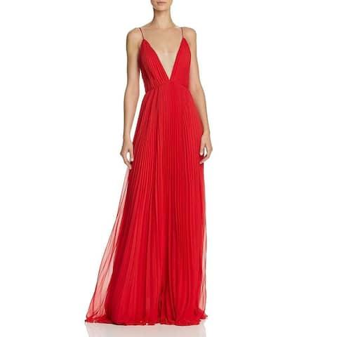 Jill Stuart Women's Gown Pleated Illusion Deep V-Neck