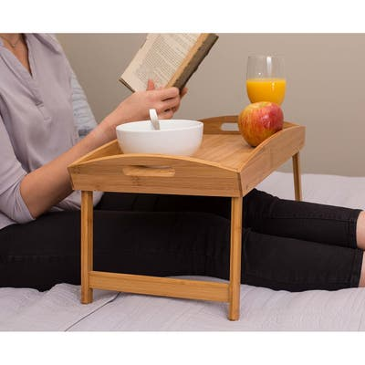 BirdRock Home Bamboo Bed Tray | Wooden Curved Sides Breakfast Serving Tray with Folding Legs | Natural