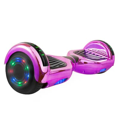 Hoverboard w/ LED Wheels/Rims and Bluetooth Speakers in Purple Chrome
